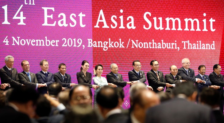 18 Heads of Government Celebrate a Successful 14th East Asia Summit in Bangkok, 4 November 2019 © ASEAN